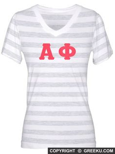 b5a7923b3d2c8 Alpha Phi V-Neck Lettered Jersey T-Shirt + Low Price