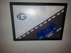Renault 8 Gordini, 1:43, wooden frame 150 x 210 cm