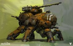 This HD wallpaper is about brown robot illustration, Destiny (video game), mech, video games, Original wallpaper dimensions is file size is Game Concept Art, Character Concept, Character Art, Character Design, Bungie Destiny, Zoids, Destiny Video Game, Concept Art Landscape, Art Tutorial