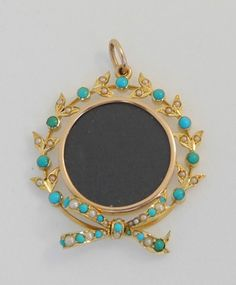 Victorian yellow gold 15k pendant locket with turquoise and pearl. signed