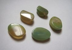 Large yellow green oval Agate beads by EmeraldCityCustom, $7.00