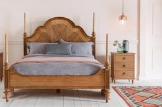 The Botticelli super king size bed is a grand statement four poster bed. Hand carved from mindy ash wood it features a walnut inlay headboard. Bed, Bed Styling, Bedding Master Bedroom, Four Poster, King Size Bed Frame, How To Make Bed, Super King Size Bed, Superking Bed, King Beds