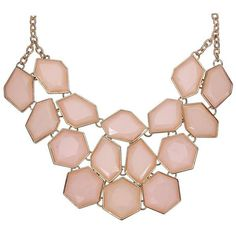 Yoins Yoins Faceted Stone Bib Necklace (7.135 CLP) ❤ liked on Polyvore featuring jewelry, necklaces, colar e bib necklace