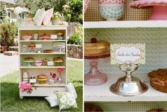 I freakin' LOOVE the sweets shelf!!  Daisy Pink Cupcake: ~Vintage Chic Wedding~
