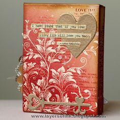 """By Anna-Karin. Stamp """"Leafy Vines"""" (Hero Arts) in VersaMark; heat emboss with clear powder.  Sponge Distress Inks: Antique Linen, Tattered Rose, Victorian Velvet, Barn Door, Fired Brick, and Vintage Photo. Stamp text in Fired Brick. Add embellishments."""