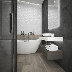 Modern bathroom interior. Modern tiles. Concrete tiles. Apdailos namai Condo Bathroom, Laundry In Bathroom, Bathroom Interior, Modern Bathroom, Bathroom Ideas, Bathrooms, Bath Tub, Shower Tub, Concrete Tiles