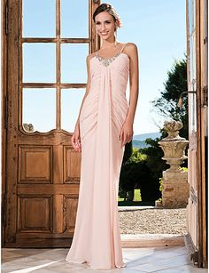 Formal Evening/Prom/Military Ball Dress - Pearl Pink Plus Sizes Trumpet/Mermaid V-neck/Spaghetti Straps Floor-length Chiffon – GBP £ 94.89