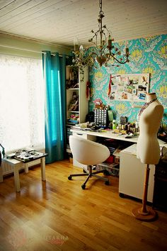 Gorgeous color in this sewing room