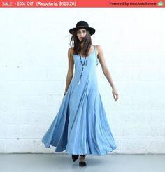 SALE  Flare Maxi dress light denim. by Naftul on Etsy