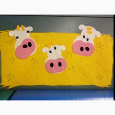 Our farm theme classroom decorations.hay bales with silly cow faces :) would make a cute display! Zoo Crafts, Animal Crafts, Fall Preschool Activities, Preschool Crafts, Educational Activities, Classroom Displays, Classroom Themes, Circus Decorations, Farm Unit