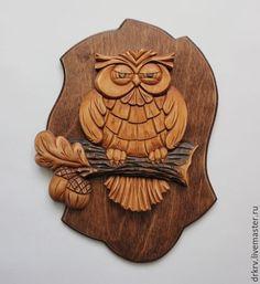 """Handma wooden panel / Панно """"Сова с желудями"""" - комбинированный, панно, резьба по дереву, резное панно, сова, совушка"""