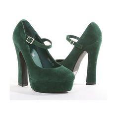 Amazon.com: Green Suede Chunky Heel Mary Jane Platform Pump: Shoes via Polyvore