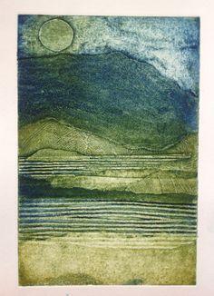 Moonlit lochs by Mari French 2013. Collagraph & carborundum print.