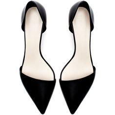 Zara Kitten Heel Leather Vamp Shoe found on Polyvore