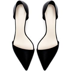 Zara Kitten Heel Leather Vamp Shoe ($20) ❤ liked on Polyvore featuring shoes, pumps, heels, flats, footwear, black, zara shoes, leather pumps, black flat shoes and black leather pumps