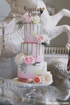 Modern ombre wedding cake at Aynhoe Park, by The Confetti Cakery.