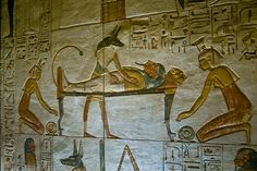 The god Anubis from an Egyptian tomb wall