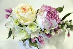 Silk flowers by lily Marchenko Creative Studio Flowear, Hands & Belts vk… Fabric Roses, Silk Flowers, Paper Flowers, Rose Crafts, Flower Crafts, Leather Flowers, Crepe Paper, Handmade Flowers, Flower Making