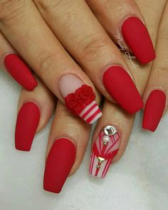 The Secrets Of Valentines Nails Acrylic Coffin Red Revealed 23 Xmas Nails, Holiday Nails, Christmas Nails, Best Nail Art Designs, Acrylic Nail Designs, Matte Acrylic Nails, Valentine Nail Art, Coffin Shape Nails, Hot Nails
