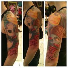 Tattoo by Tara Renee at Chrome Lotus Tattoo Nightmare Before Christmas, Time Burton, Disney, Jack and Sally,