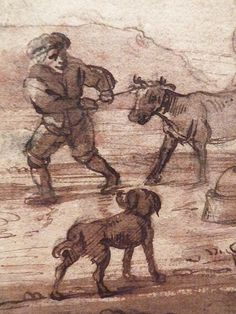 "OSTADE (van) Isaac,1644-49 - Paysage avec Voyageurs (drawing, dessin, disegno-Custodia) - Detail -q - TAGS/ details détail détails detalles ""dessins 17e"" ""17th-century drawings"" ""dessins hollandais"" ""Dutch drawings"" ""Dutch painters"" ""peintres hollandais"" Paris France Holland Hollande animal animaux animals man men hommes paysan dog pet chien Isaack tree trees nature arbres chevaux cheval horse traveller ox boeufs boeuf oxes agriculture countryside campagne landscape Isaack road chemin camino"