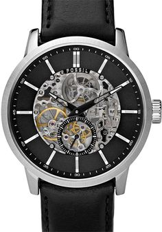 Fossil ME3018 Watch - Cool Watches from Watchismo.com    A window in the dial reveals the inner workings of this automatic mechanical watch.  The rotor can be seen from the back of the watch. A classic leather strap finishes the look.  No batteries required, ever...