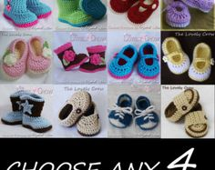 Baby Crochet Patterns  CHOOSE ANY FOUR patterns from The Lovely Crow
