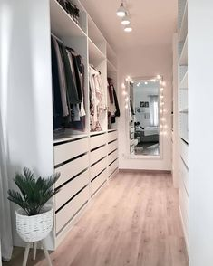 Minimalist Closet Design With Drawers With Open Shelving And Holders - A white . - Minimalist Closet Design With Drawers With Open Shelving And Holders – A white minimalist closet - Bedroom Design, Closet Decor, Minimalist Closet, Bedroom Closet Design, Bedroom Bed Design, Wardrobe Room, Home Decor, House Interior, Closet Layout