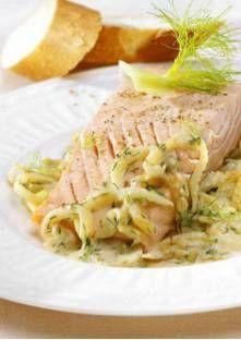 Recette de Pavés de saumon vapeur au fenouil