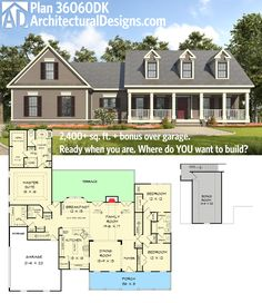 Architectural Designs House Plan 36060DK gives you 3 bed country living and a bonus room over the garage. Ready when you are. Where do YOU want to build?