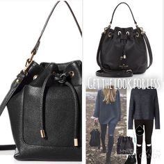 """New Large NY Bucket Carry-All Bag Kate Spade Inspired carry all bag with inner zipper, drawstring closure. Vegan Leather with gold hardware. 10""""x12""""x5.5"""" still in wrapping, 4"""" handle drop 24"""" shoulder strap drop length....bucket style Right on Trend! Bags Satchels"""