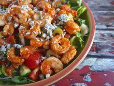 Buffalo Shrimp Salad #ThePreppyPaleo