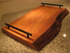 Wooden Tray Ideas | Live Edge Cherry Serving Tray from Etsy.com