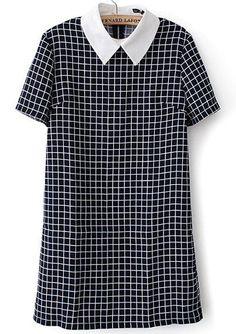 Contrast Collar Plaid Back Zipper Dress -SheIn(Sheinside)