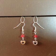 Red Bead/Heart Dangles