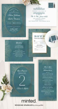 Make your wedding sparkle with this elegant foil-pressed wedding invitation by Minted artist Chris Griffith.
