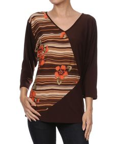 Look what I found on #zulily! Brown Floral Stripe Color Block Top #zulilyfinds