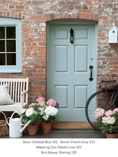 A classic English cottage door in celestial blue. Little Greene Paint Company