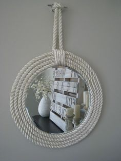 Nautical Rope Mirror | 33 Nautical DIYs That Will Transport You To The Beach