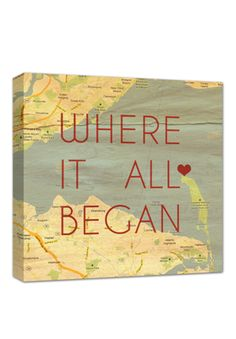 a sweet keepsake reminder of 'where it all began.' - the story of your love! so in love with this custom MAP canvas!