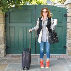 Layering, Travel Outfit, Army Fatigue, Motorcycle Vest, Skinny Jeans, Orange Sneaker Wedges, Mark & Graham Luggage #RachWear