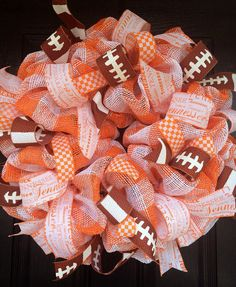 Orange and White Tennessee Vols Wreath by AllMeshedUp2014 on Etsy