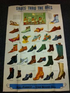 Poll Parrot and Star Brand Shoes Advertising Poster Large Shoes thru The Ages | eBay