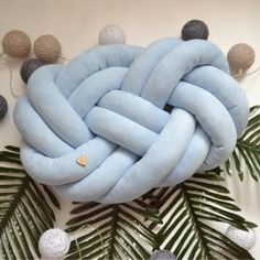Suede  Baby Blue knot pillow