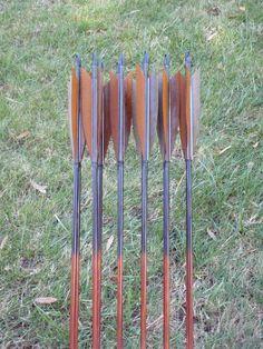 Bark and Brown archery arrows 50-55lb dozen traditional wood archery arrows archery arrow set