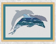 Dolphins cross stitch pattern, printable ocean marine wildlife counted cross stitch chart, sea dolphins silhouette, modern pattern PDF by Climbing Goat Designs