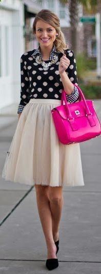Gingham shirt Meets Dotted Sweater so much cuteness tutu//polkadots//pink//chambray