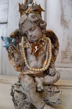 Hand painted shabby cherub statue with crown by AnitaSperoDesign, $220.00