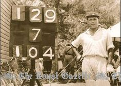 Alma (Champ) Hunt with the 1941 Cup Match scoreboard; the other six players accounted for the other 25 runs.  Hunt was Bowled and Caught by Leroy 'Tubby' Richardson. It was Champ's first century of rhe classic and the first for a Somerset player. Somerset won by 29 runs