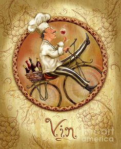 Chefs On Bikes-vin. Chef riding his vintage bicycle from the market with a basket filled with wine. Fun artwork for the kitchen or dining room. Artist, Shari Warren.